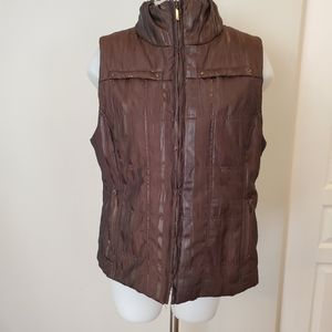 Onyx Quilted Brown Zip Front Vest Large